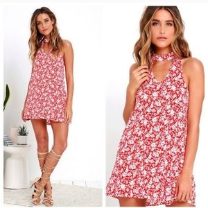 Lulu's Lean Close Ivory Red Floral Swing Dress S
